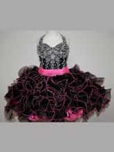 Beading Black Little Flower Girl Dresses With  Halter Neck Beaded Ruffles Organza Short Pageant Dresses Zipper Up  Ball Gown unique fashion ball gown flower girl dresses with spaghetti jeweled ruffles v bodice short pageant dress for girls zipper