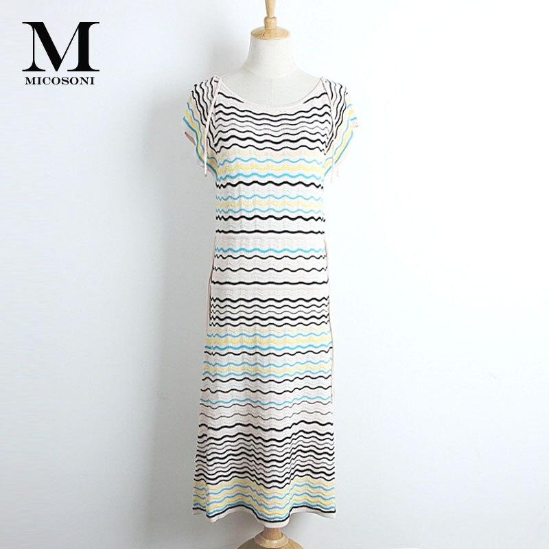 Haute qualité Micosoni nouveauté italienne en été 2018 tricoté ondulé rayé sans manches robe laçage Slim femmes robes S-L