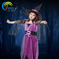 Little Purple Witch Dress With Gauze Child Costume For Halloween Party Carnival Christmas Cosplay Kids Girl