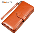 2016 New Oil Wax Leather Wallet Women Long Section Of Korean Women Zipper Wallet Large Capacity Leather Clutch Wallet