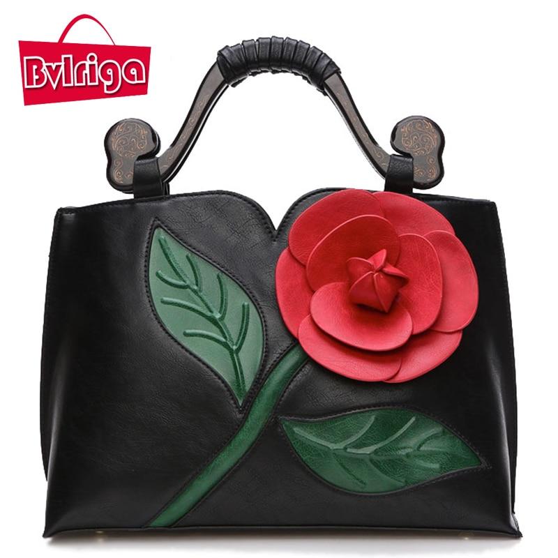 ФОТО BVLRIGA Bags handbags women famous brands women leather handbags women messenger bags shoulder bag flowers Vintage big totes
