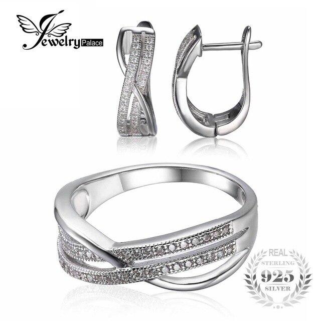 Jewelrypalace две линии камни бесконечности кольцо серьги годовщина свадьбы обручальное стерлингового серебра 925 комплект ювелирных изделий изысканные ювелирные изделия