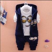 Newest 2015 Autumn Baby Girls Boys Minion Suits Infant Newborn Clothes Sets Kids Vest T Shirt