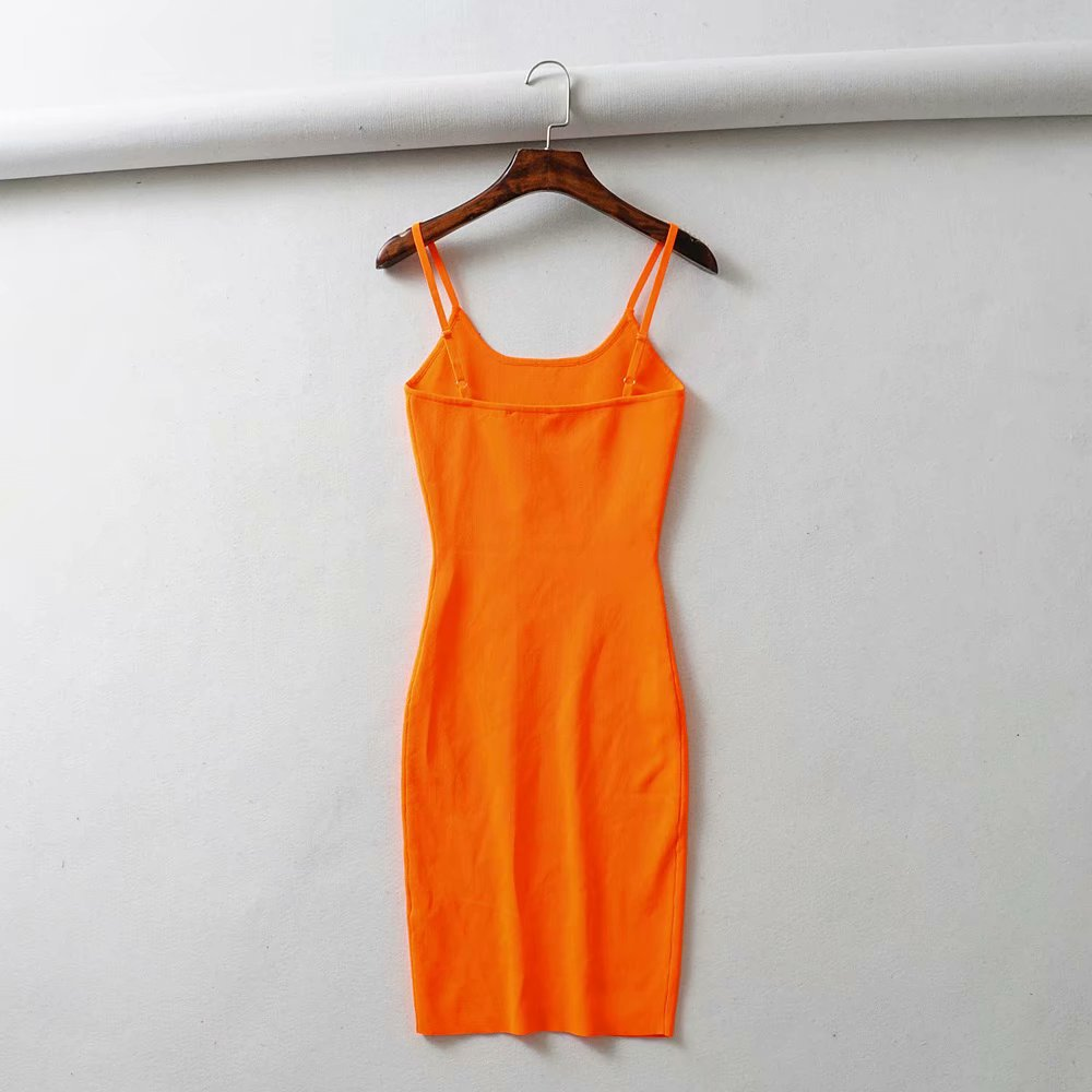 2019 Summer Fluorescence Stretch Knitting Mini Dress Sexy Club Women Sexy Straps Slim Party Dresses Vestidos Femme in Dresses from Women 39 s Clothing