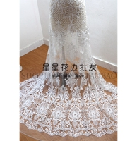 2018 NEW cheap lace fabric light ivory embroidered tulle lace for wedding dress 1 Yard heavy embroidered bridal gowns lace fabri