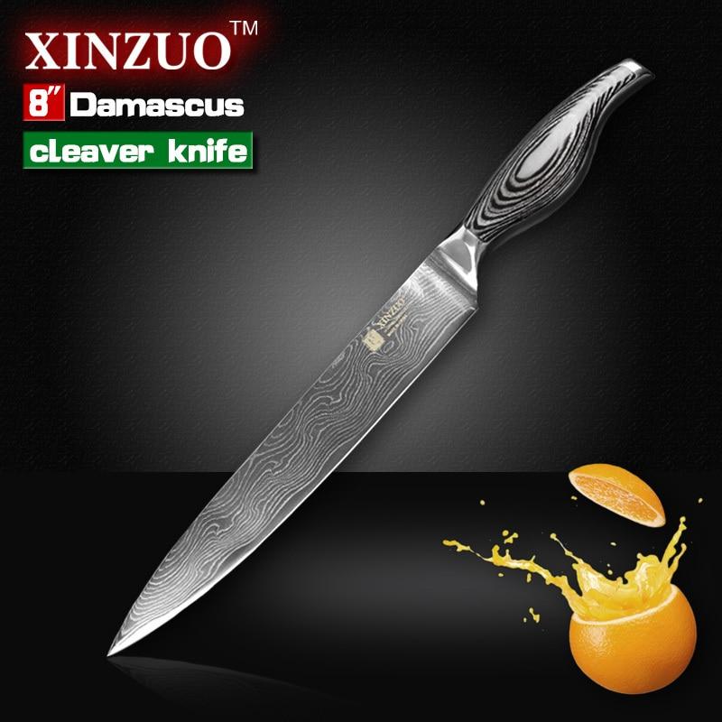 8 cleaver font b knife b font Japanese VG10 Damascus steel kitchen font b knife b