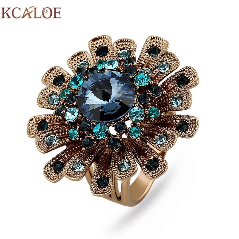 KCALOE Big Titanium Gold Flowers Engagement Rings For Women Luxury Blue Crystal Rhinestone Vintage Finger Ring Wedding Jewelry