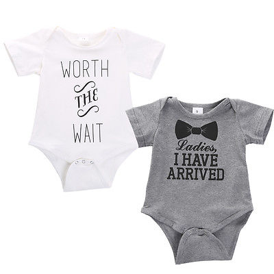 2016 Summer Newborn Boys Girls Cotton Quote Print Romper Playsuit Outfits Costume-in Rompers ...