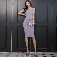 2019 New Office Ladies Violet Dress Professional Purple Sexy Slim Knee length Slash Neck Bodycon Summer Women Dress Vestidos
