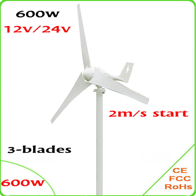 600W wind generator 2m/s low-wind start, 3 blades wind turbine generator Max 830W CE & RoHS Approved wind power generator 1kw horizontal wind turbine generator 3 5 blades start up 2m s 24v 48v optional wind generator ce approval