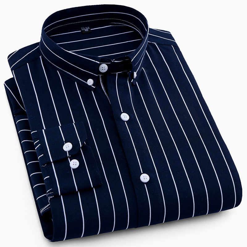 高品質メンズビジネスカジュアル長袖男性ボタンシャツ古典的なストライプスリムフィット男性社会男性のドレスシャツ生き抜く