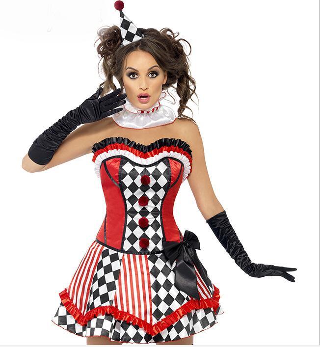 Odrasle ženske noče čarovnic Halloween obleka Clown Dress Girl obleka klovna-3655