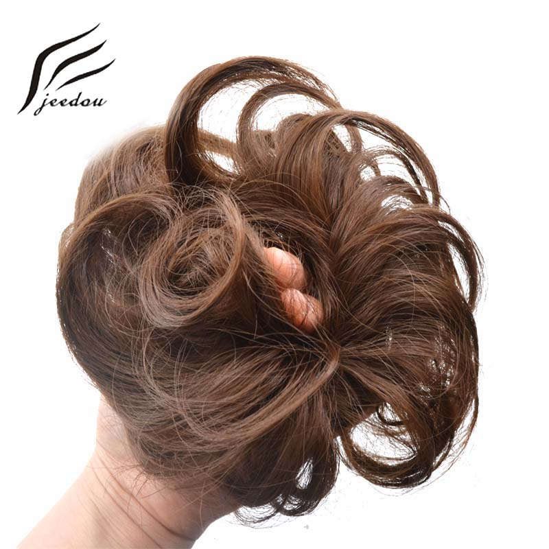 Synthetic Chignon Hair Extensions & Wigs Jeedou Synthetic Hair Chignon 60g Curly Hair Bun Pad Rubber Band Chignon Chic And Trendy Hottest Hair Trends Hairpieces