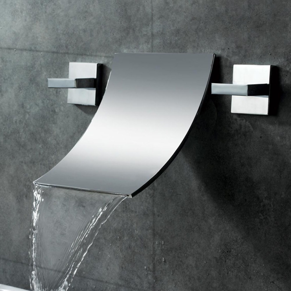 Free Ship Modern Waterfall Wall Mount Bathroom Vessel Sink Faucet In