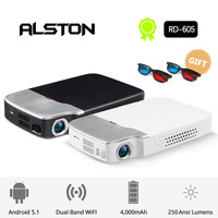 ALSTON Mini HD RD 605 projector 150ANSI lumens easy to carry home 1080P Android projector with battery