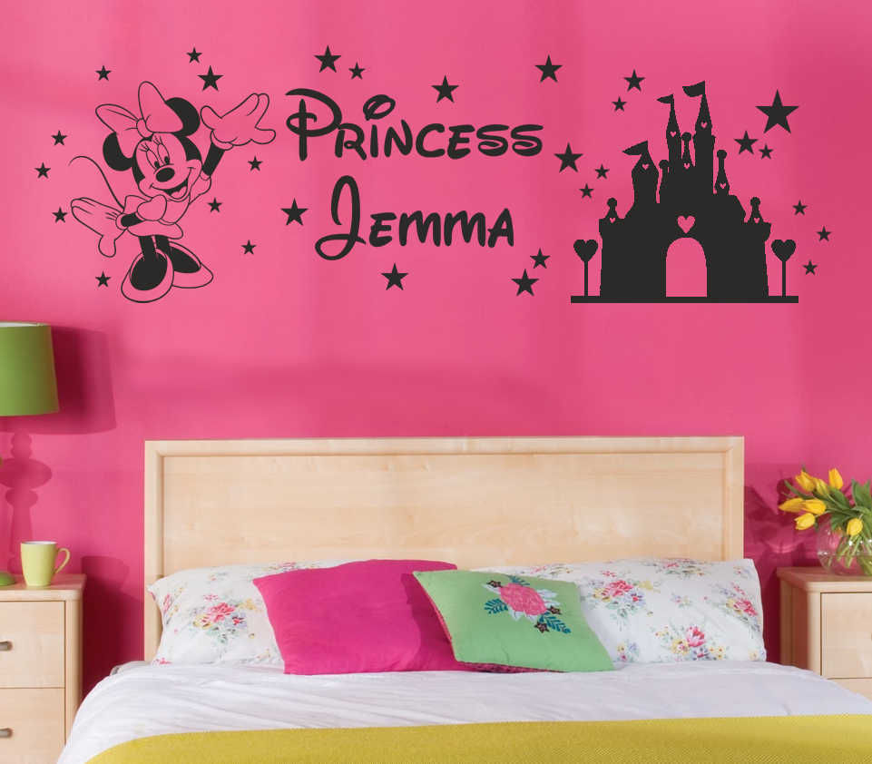 Mickey mouse wall decal personalised name princess kids sticker mickey mouse wall decal personalised name princess kids sticker art home decor in the girls bedroom wall decoration in wall stickers from home garden on amipublicfo Choice Image