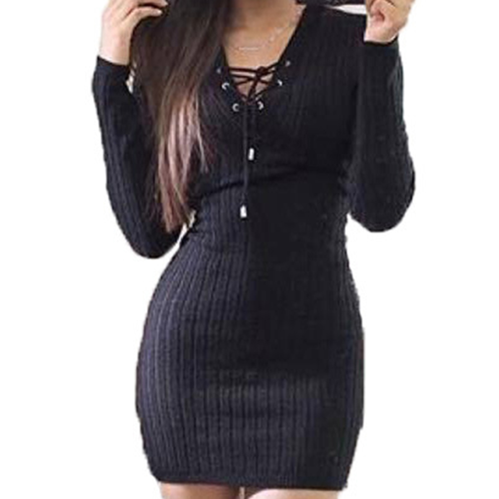 High Quality Knit Lace up Sweater Dress-Buy Cheap Knit Lace up ...