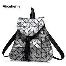 Aliceherry женщины рюкзак геометрическая лоскутное решетки алмаза BaoBao Рюкзак для подростков drawstring сумка mochila sac dos