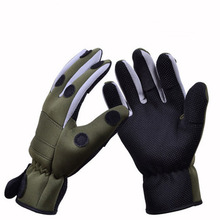 Thickened Non Slip Camouflage Thermal Winter Fishing Gloves 3 Fingers Exposed Gloves for Fishing Hunting