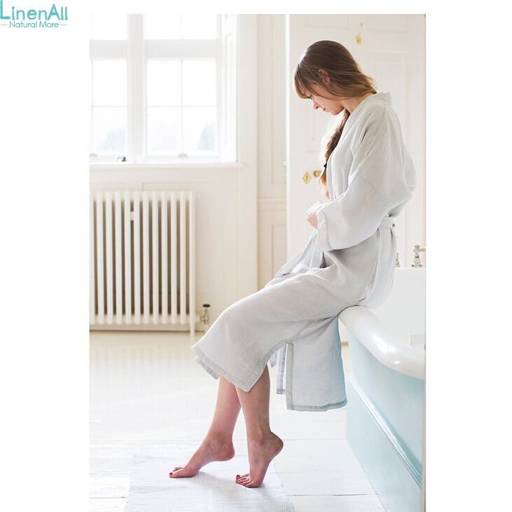 LinenAll womens sleep robe,Japanese style water wash linen bathrobe male Women 100% pure linen bathrobe luxury brief bath robe