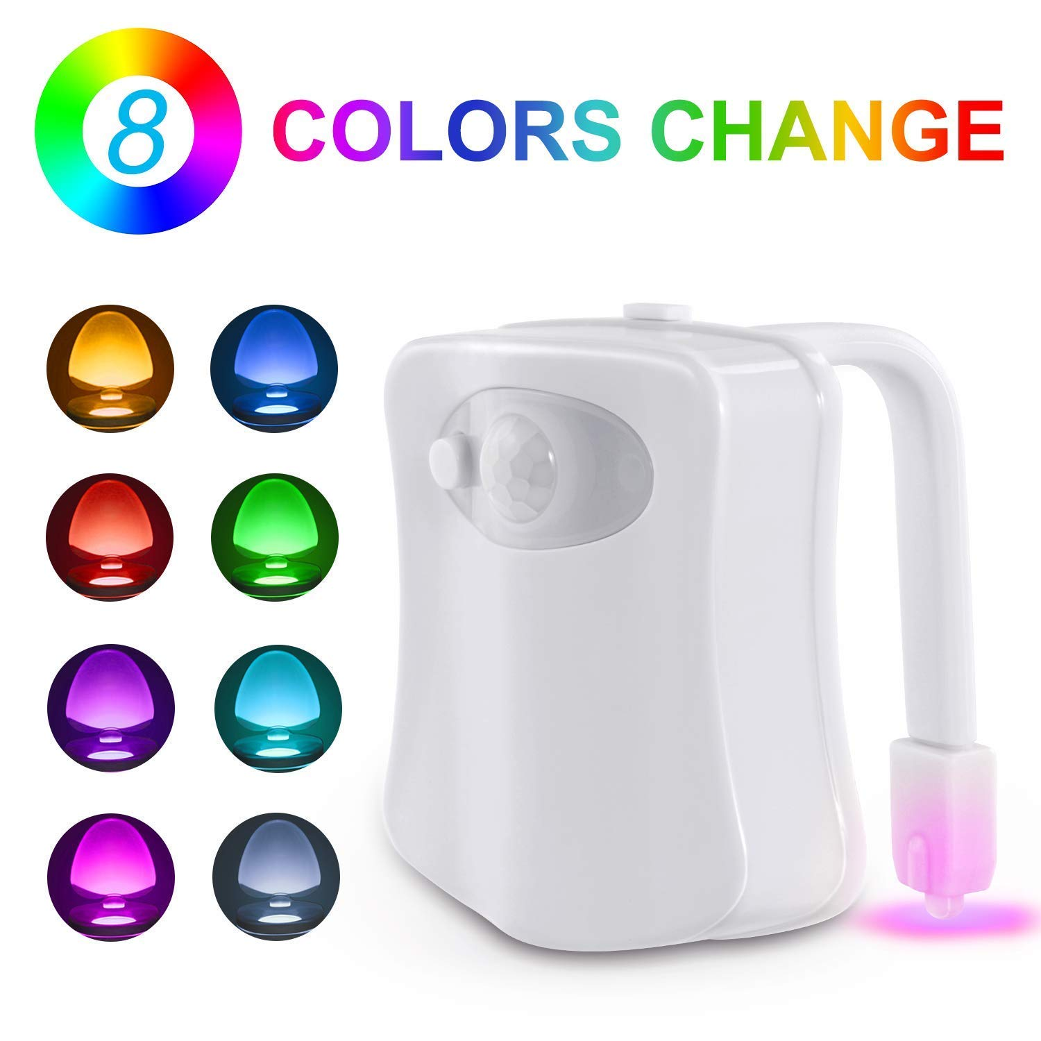 Firya Smart PIR Toilet Seat Night Light Motion Sensor LED Two Modes With 8 Colors Changing For Toilet Bowl Bathroom WC Lamp