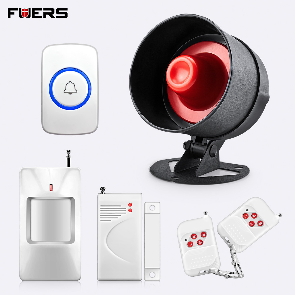 Fuers 120dB Loudly Sound Anti-theft Alarm Siren Garage Wireless Home Security Surveillance Burglar Alarm System Kit With Button