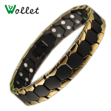 2017Wollet Fashion Jewelry Healing Energy Magnet Black Color And Gold Filled Magnetic Pure Titanium Bracelet Bangle for Men(China)
