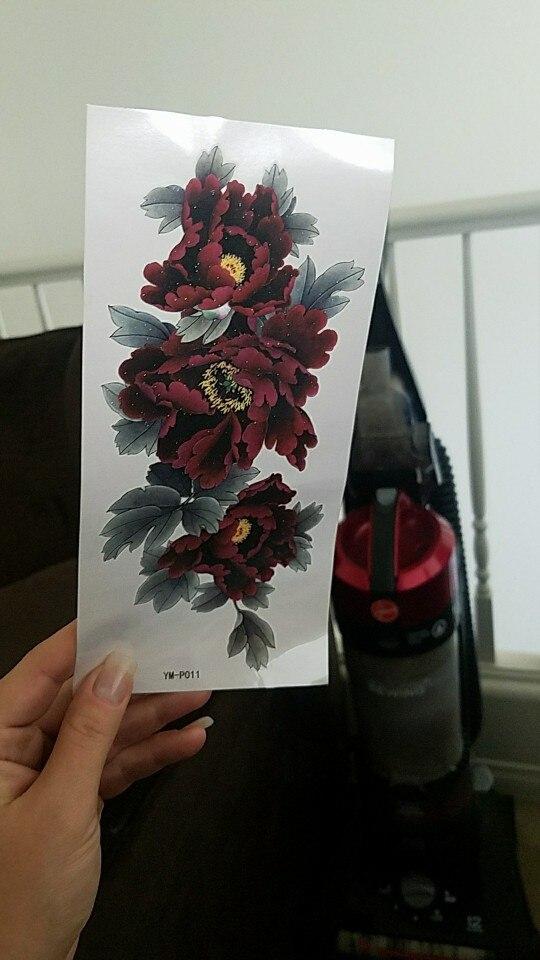Waterproof Temporary Tattoo Sticker dark red peony flower women's body art tatto sticker 1