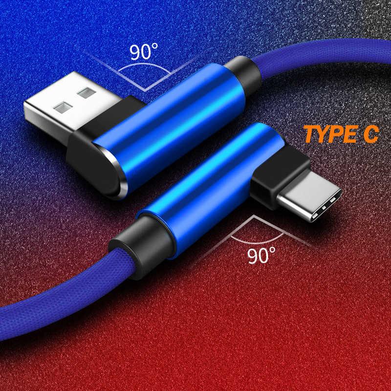 Kabel USB typu C 90 stopni z nylonu dla Samsung S10 S9 Plus S8 S8 Plus szybkie ładowanie dla Xiao mi mi Max 2 czerwony mi uwaga 7 kabel