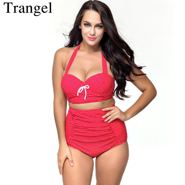 Trangel bikini High Waist Swimsuit Women Bathing Suit Vintage Retro Push Up Bikini Set Plus Size Swimwear Summer Beach wear