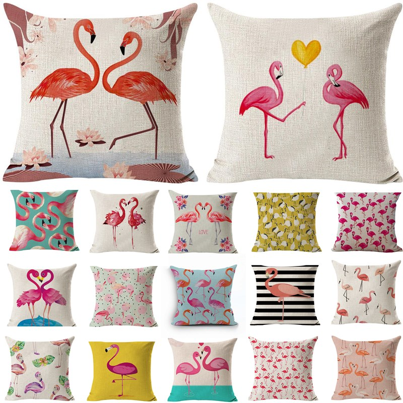 1 Pcs 43 * 43 cm Flamingo Padrão Cotton Linen Throw Pillow Capa de Almofada Assento Car Home Decoration Decorativa Fronha 40497