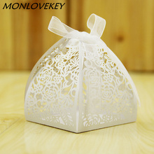 50pcs Lace Flower Design Laser Cutting Wedding Candy Box Gifts For Guests Favors And Party Decorations