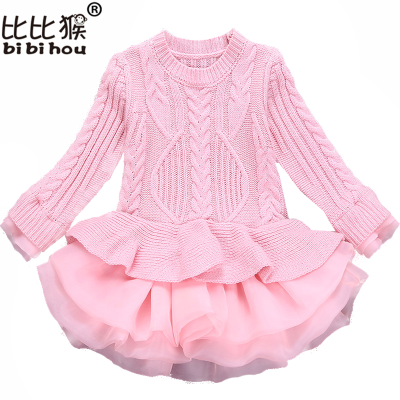 Knitted Autumn winter Girls Dress 2018 Casual Long Sleeves laceMesh Kids Dresses For Girl Clothing Cute Princess Dress Wedding autumn winter female long wool knitted dresses turtleneck slim lady accept waist package hip pullovers sweater dress for women