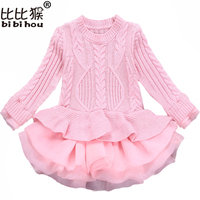 Knitted Autumn Winter Girls Dress 2018 Casual Long Sleeves LaceMesh Kids Dresses For Girl Clothing Cute