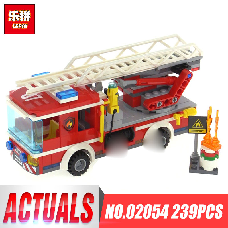 Lepin 02054 Genuine 239Pcs City Series The Fire Ladder Truck Set 60107 Building Blocks Bricks Educational Toys Christmas Gift 380pcs fire branch city enlighten bricks toy for children ladder truck building blocks fire fighter figures boys gift k0411 910