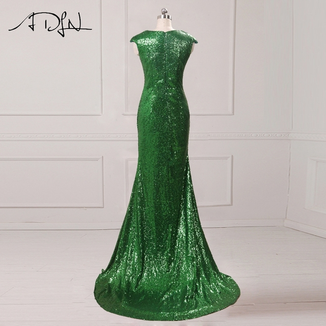 ADLN Mermaid Evening Dress with Slit Scoop Sequin Long Prom Dress Cheap Party Gown Rose Gold/Green/Burgundy/Black/Red/Blue