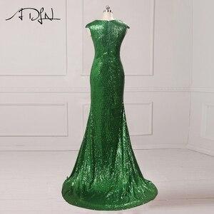 Image 3 - Ausverkauf ADLN Meerjungfrau Abendkleid mit Schlitz Pailletten Günstige Lange Prom Party Kleid Rose Gold/Grün/Burgund /schwarz/Rot/Blau