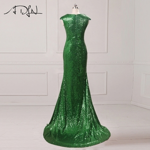 Image 3 - Clearance Sale ADLN Mermaid Evening Dress with Slit Sequin Cheap Long Prom Party Gown Rose Gold/Green/Burgundy/Black/Red/Blue