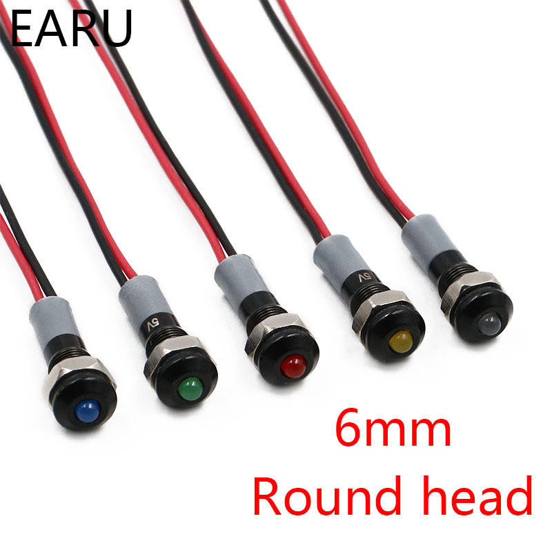 Black Body Round Head 6mm Waterproof IP67 Metal LED Warning Indicator Light Signal Lamp Pilot Wire 5V 12V 24V 110V 220V Red Blue
