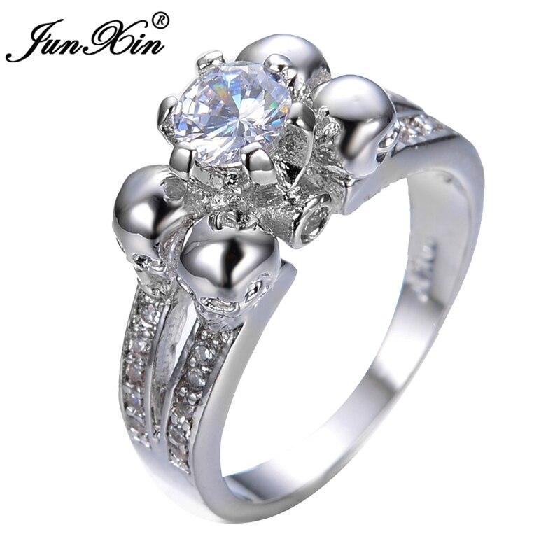 junxin crystal white skull ring vintage wedding rings for women fashion white gold filled jewelry bague - Skull Wedding Ring