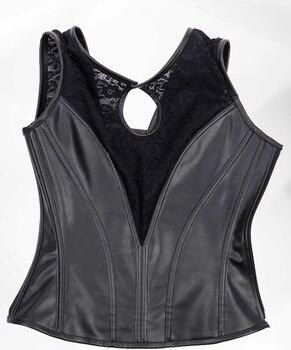 Black Leather Corset Top | Steampunk Gothic Black Lace Leather Side Zipper Corset Vest Bustier Top Punk Sexy Steel Boned Corsets Corselet Gothique Femme
