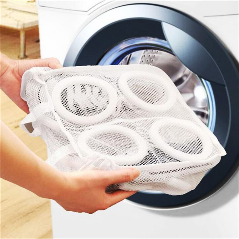 1 Pcs Nylon Laundry Bag Shoes Support Storage Organizer Mesh Washing Dry Sneaker Tennis Boots Baskets Household Cleaning Tools