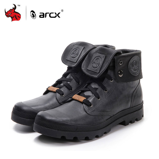 ARCX Retro style Men Leather Motorcycle Boots Lapel Men Leisure Shoes Motorcycle  Short Boots Retro Motorcycle Boots 1