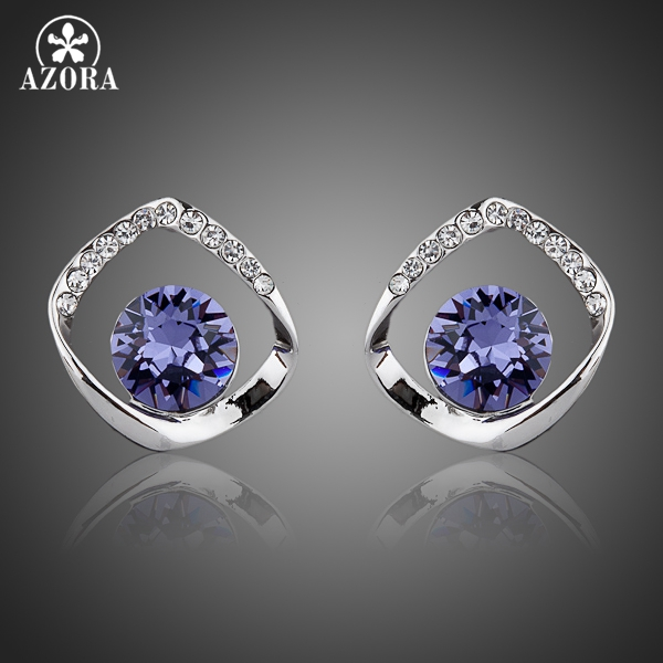 AZORA Noble White Gold Color Blue Stellux ավստրիական Crystal Stud Ականջօղեր TE0041