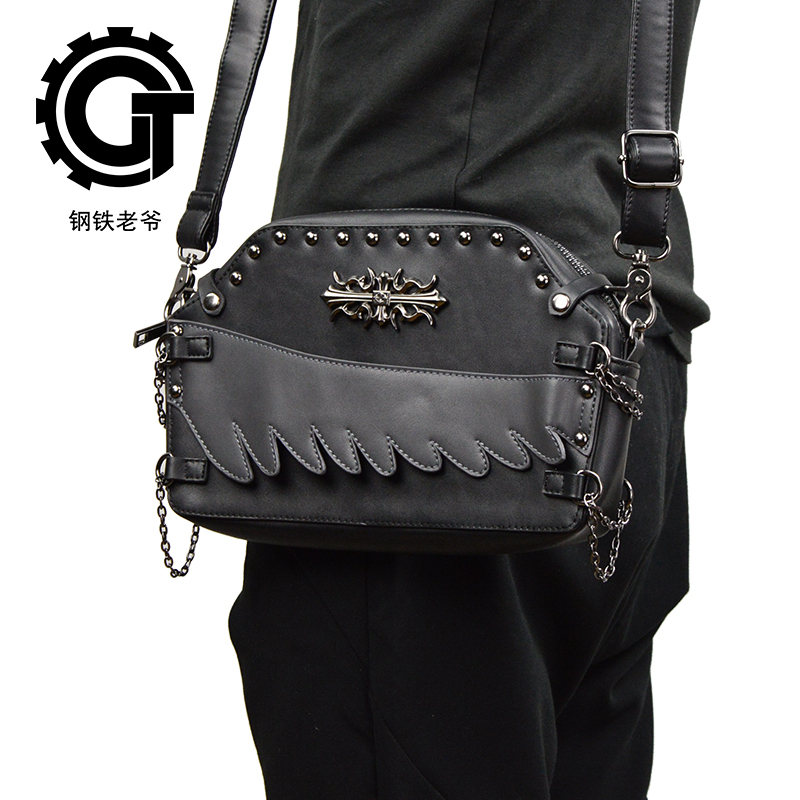 Punk Rivet Shoulder Messenger Bags Steampunk Motorcycle Crossbody Bag Gothic Black PU Leather Women Men Clutch Handbag