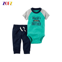 ZOFZ Baby Boy And Girl Clothes 2pcs Set O Neck Regular Print Baby Clothing 2017 New