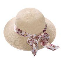 Женская летняя соломенная шляпа от солнца в стиле кантри, атлас с цветочным принтом, ленточным бантом, широкими полями, Панама, жаккардовая саржевая кружевная вязаная шляпа