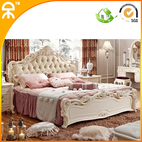 Modern Wholesale Pretty Princess Style Solid Wood Leather Fabric Furniture  Bedroom Bed Sets King Size