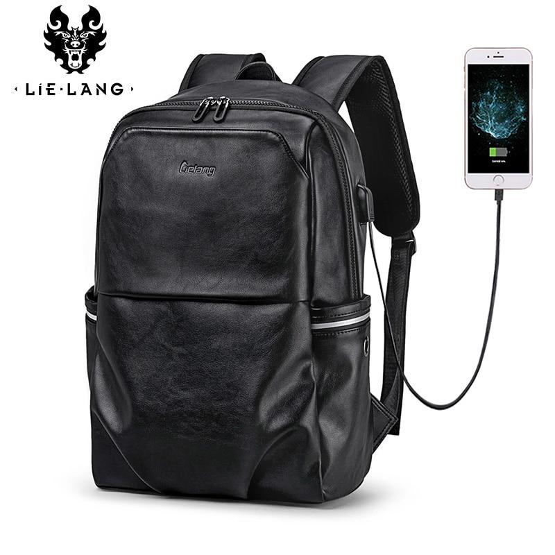 LIELANG School Backpack Waterproof 15 6 inch Leather Backpack For Laptop Men Travel Teenage Backpack Bag