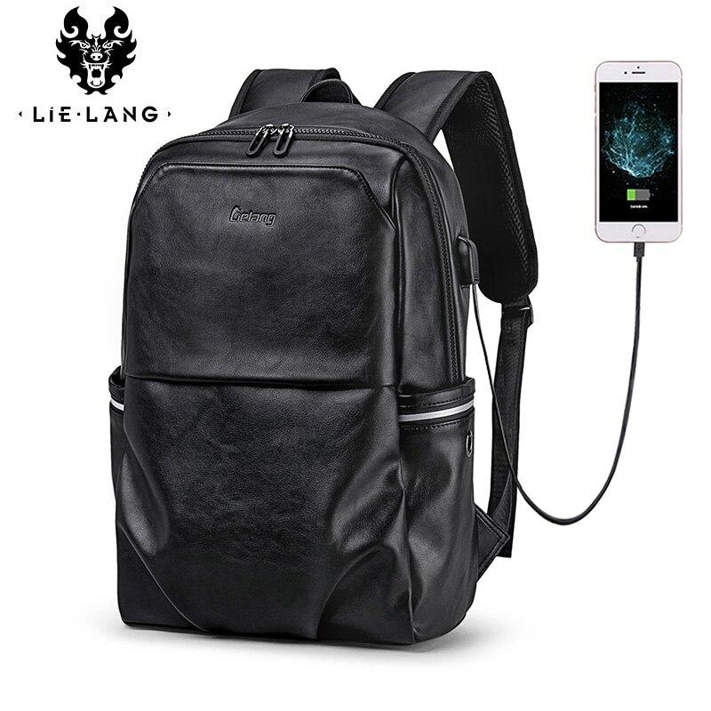 LIELANG School Backpack Waterproof 15.6 inch Leather Backpack For Laptop Men Travel Teenage Backpack Bag Male Bagpack MochilaLIELANG School Backpack Waterproof 15.6 inch Leather Backpack For Laptop Men Travel Teenage Backpack Bag Male Bagpack Mochila